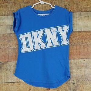 DKNY T-Shirt Girl's Size 6 Blue White Lettering DK